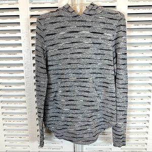 Free People Grey Striped Hoodie Size Medium